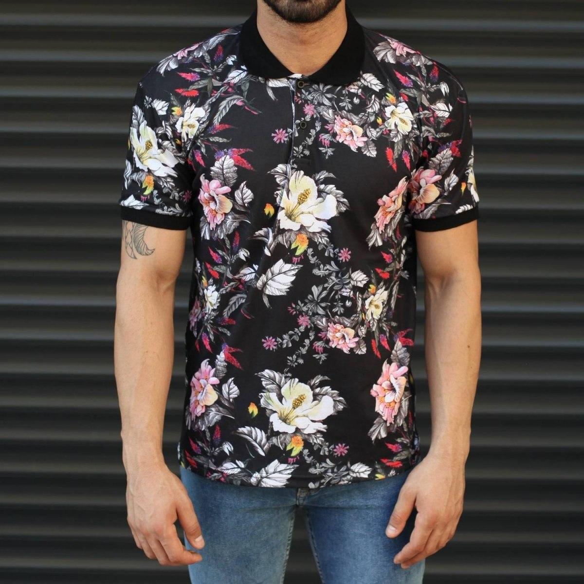 Men's Floral Pattern Colorful Polo T-Shirt Black