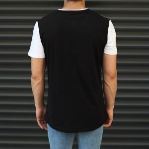 Men's Leaf Pattern Colorful T-Shirt Black & White Mv Premium Brand - 1