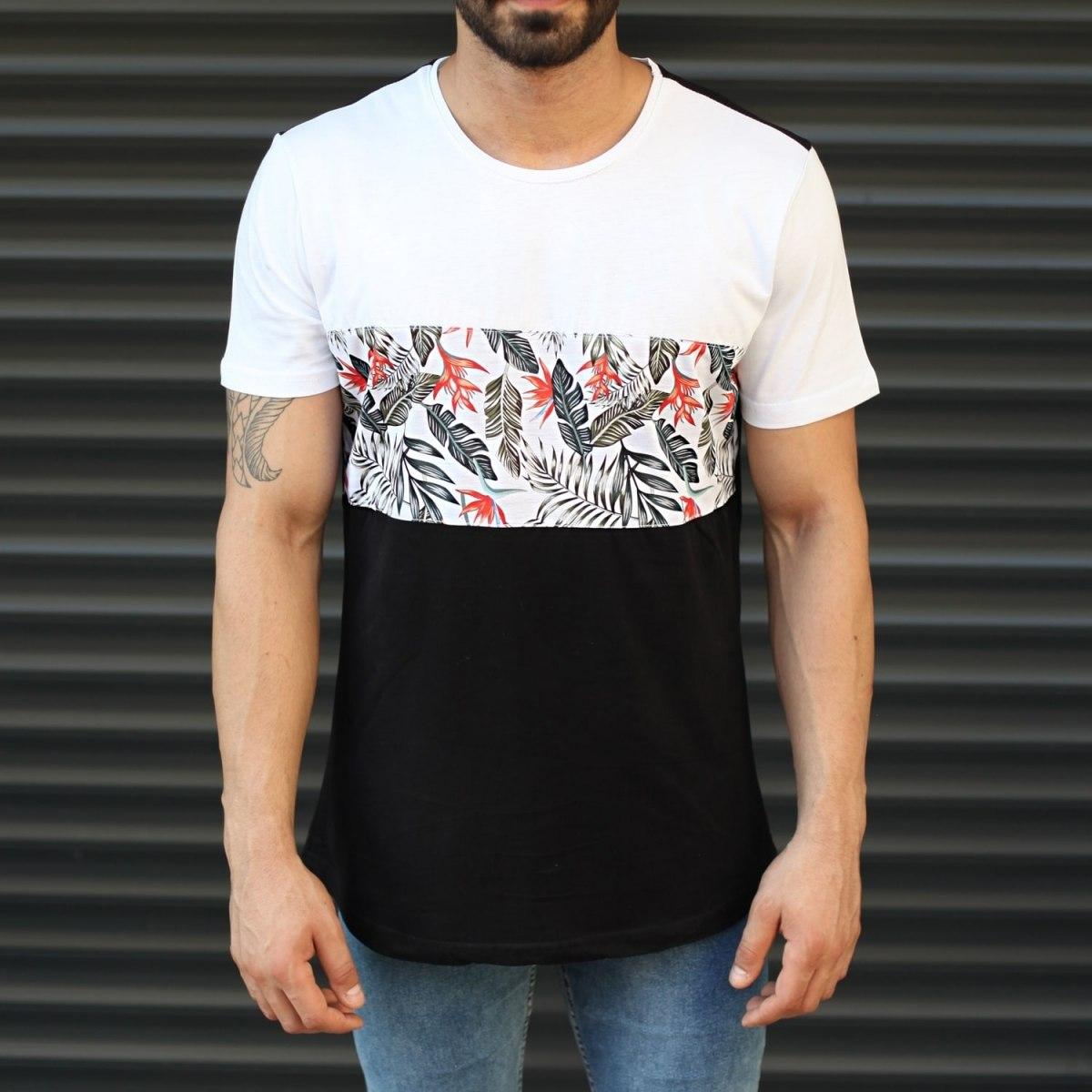 Men's Leaf Pattern Colorful T-Shirt Black & White Mv Premium Brand - 2