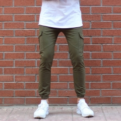 Men's Skinny Cargo Pants In Khaki MV Jeans Collection - 1