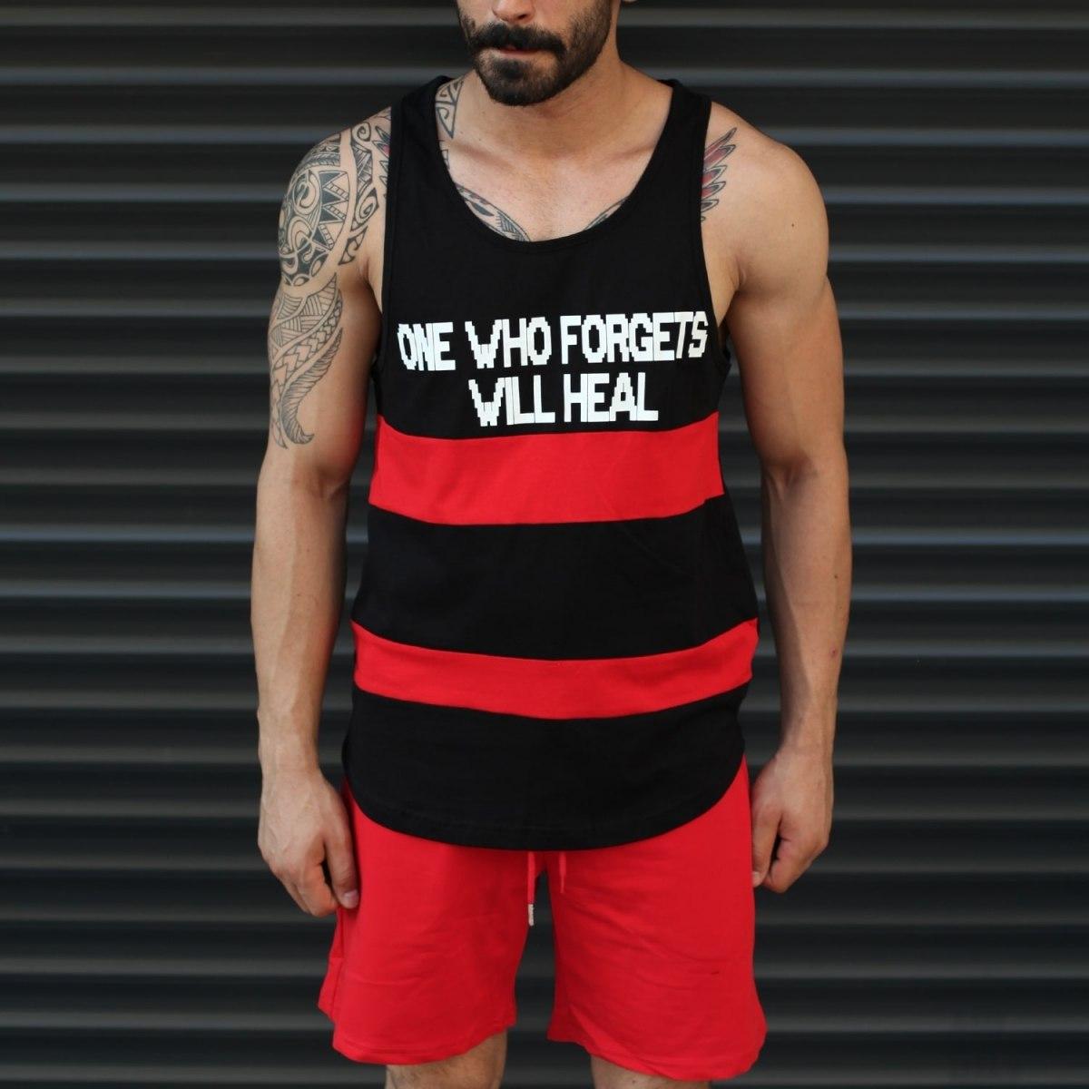 Men's Athletic Sleeveless Striped Tank Top Black