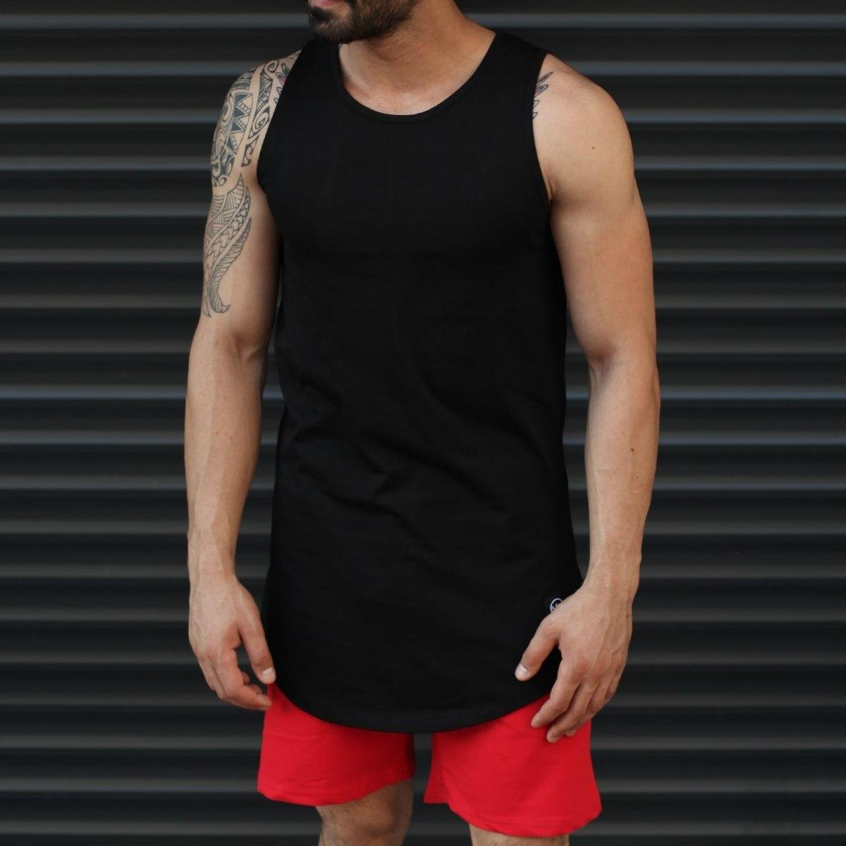 Men's Athletic Sleeveless Tall Tank Top Black Mv Premium Brand - 1