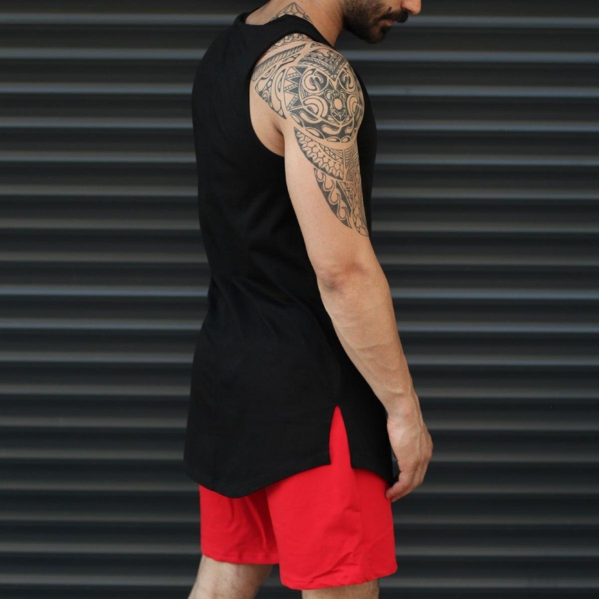 Men's Athletic Sleeveless Tall Tank Top Black Mv Premium Brand - 2