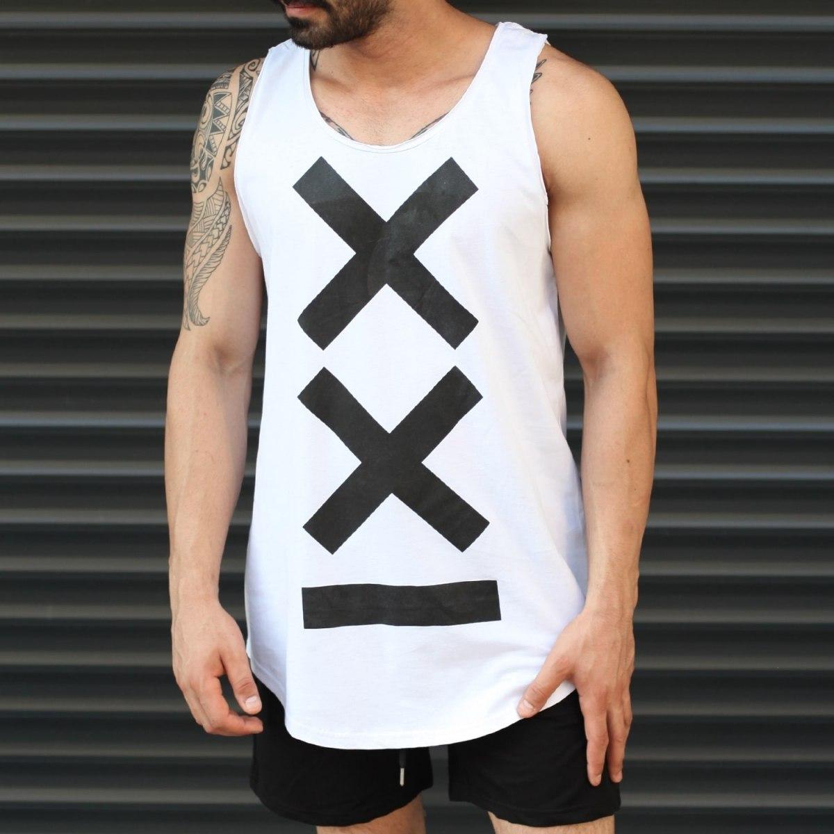 Men's Athletic Sleeveless XX Tall Tank Top White Mv Premium Brand - 1