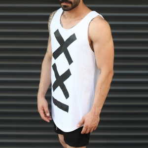 Men's Athletic Sleeveless XX Tall Tank Top White Mv Premium Brand - 2