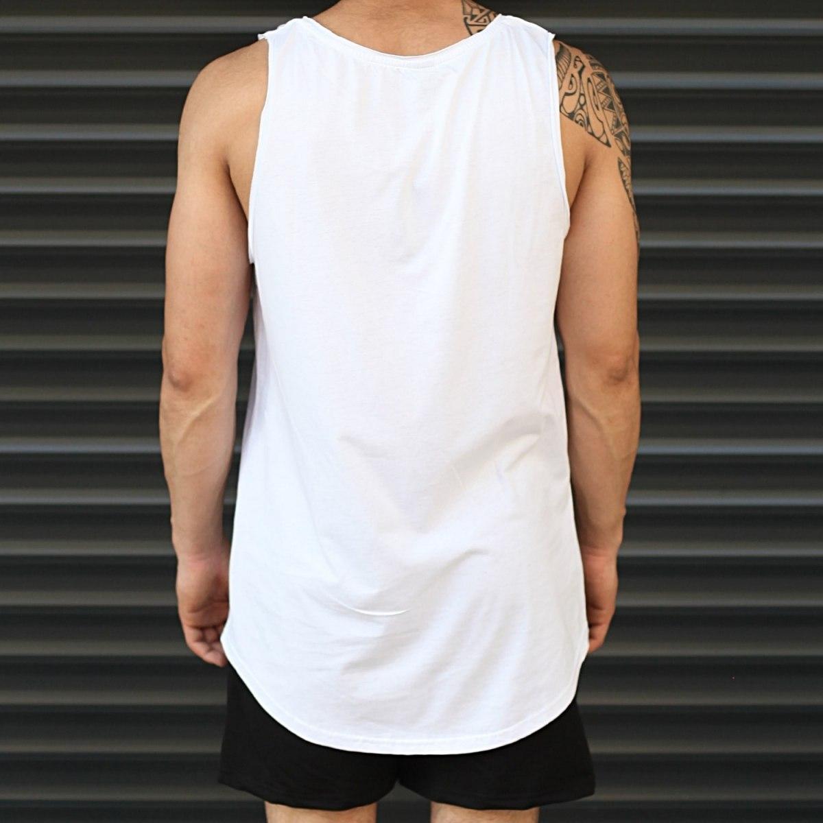 Men's Athletic Sleeveless XX Tall Tank Top White Mv Premium Brand - 3