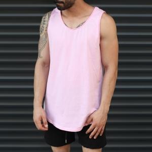 Men's Athletic Sleeveless Longling Tank Top Pink Mv Premium Brand - 1