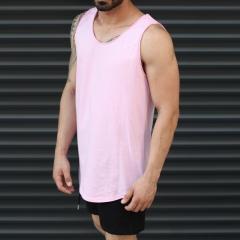 Men's Athletic Sleeveless Longling Tank Top Pink Mv Premium Brand - 2