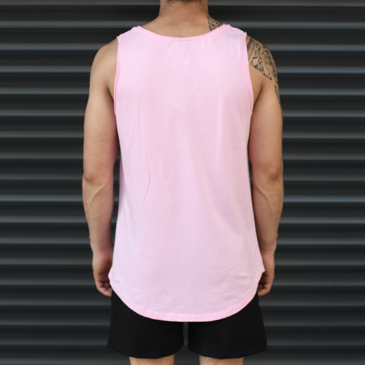 Men's Athletic Sleeveless Longling Tank Top Pink Mv Premium Brand - 3