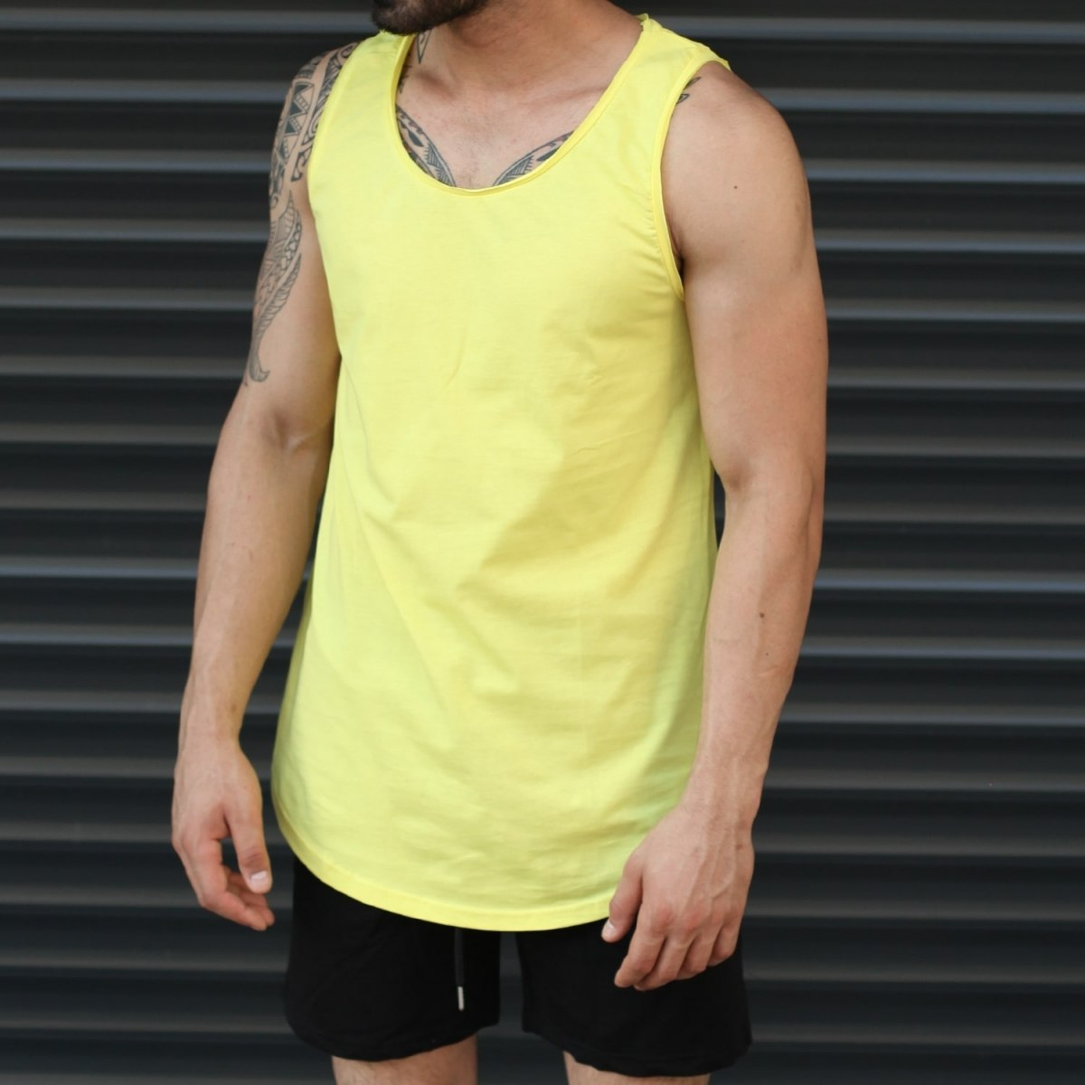 Men's Athletic Sleeveless Longline Tank Top Yellow Mv Premium Brand - 1