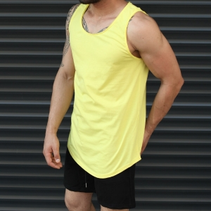 Men's Athletic Sleeveless Longline Tank Top Yellow Mv Premium Brand - 2