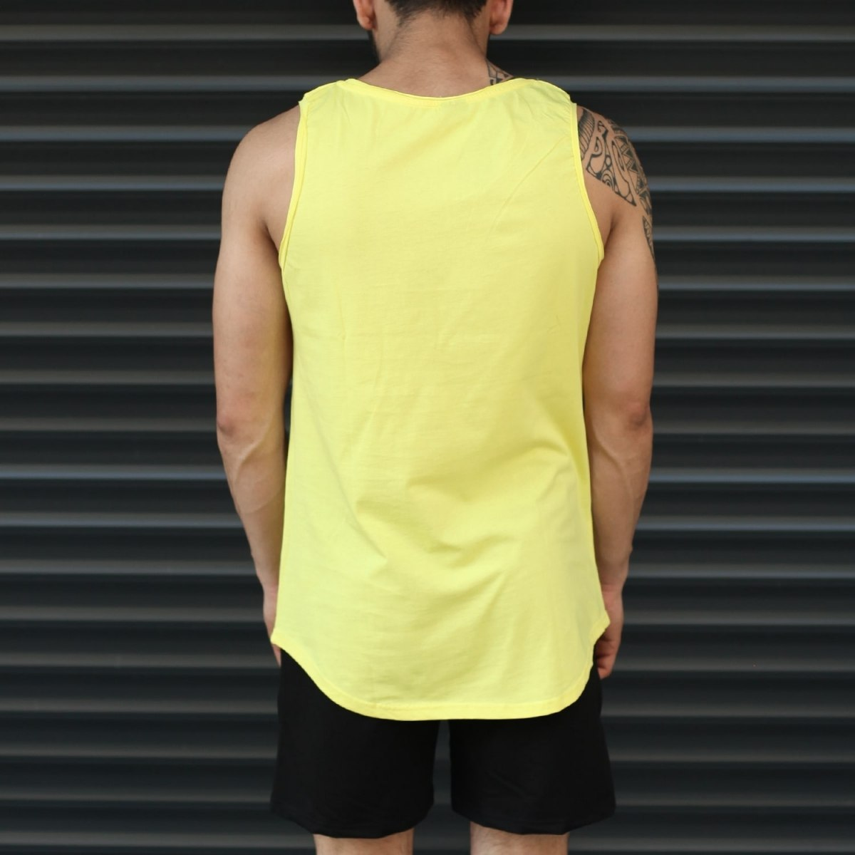 Men's Athletic Sleeveless Longline Tank Top Yellow Mv Premium Brand - 3