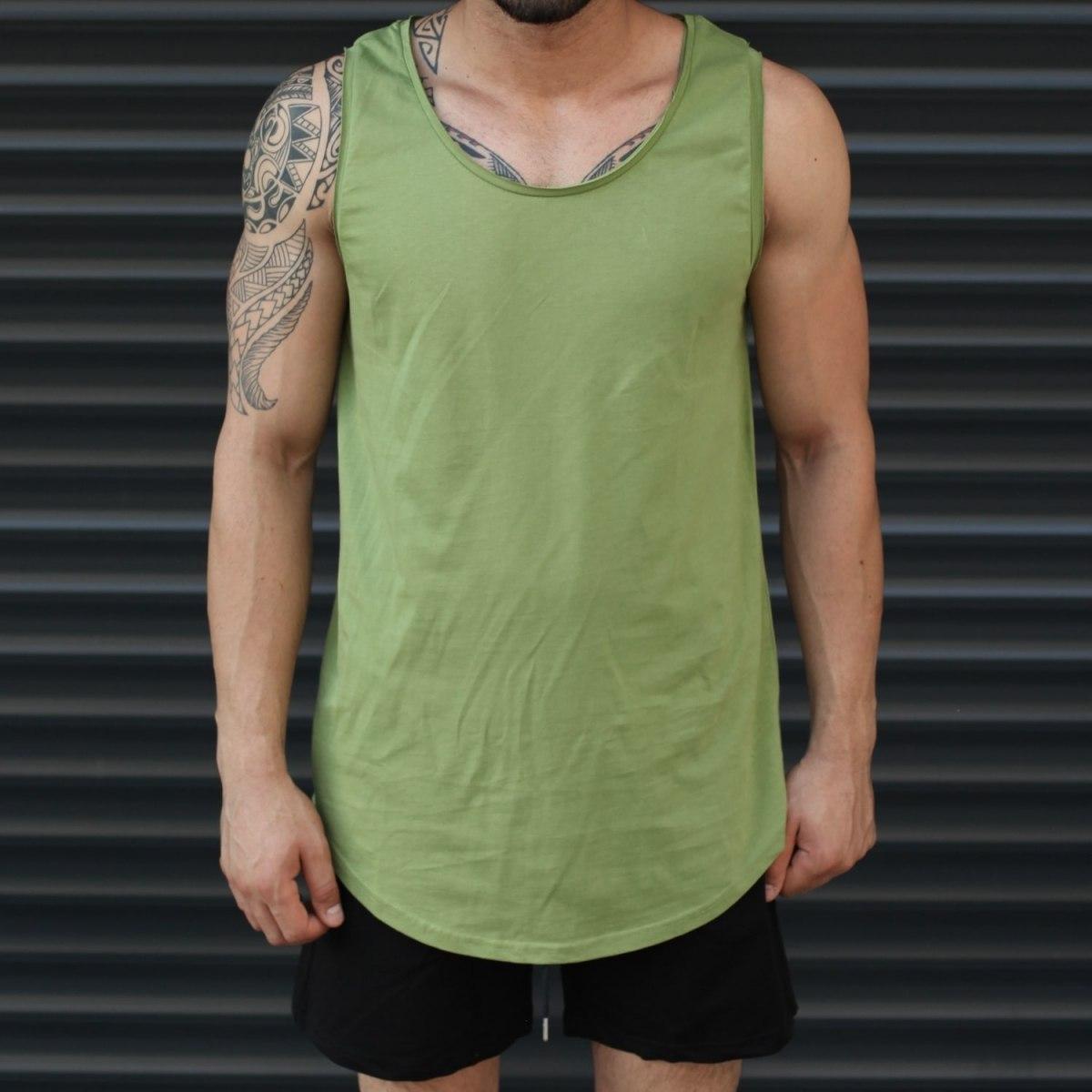 Men's Athletic Sleeveless Longline Tank Top Khaki