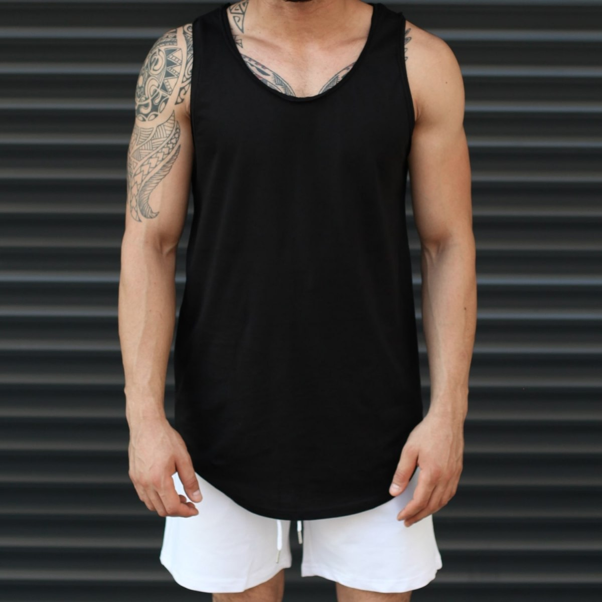 Men's Athletic Sleeveless Longline Tank Top Solid Black