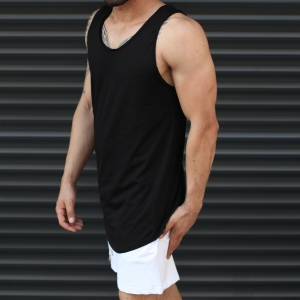 Men's Athletic Sleeveless Longline Tank Top Solid Black Mv Premium Brand - 2