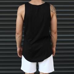 Men's Athletic Sleeveless Longline Tank Top Solid Black Mv Premium Brand - 3