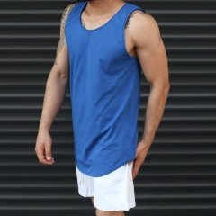Men's Athletic Sleeveless Longline Tank Top Blue Mv Premium Brand - 1