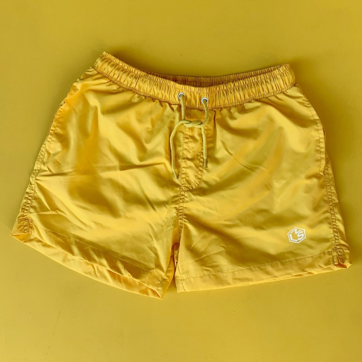 Men's Basic Short Swim Shorts With Back Pockets Yellow Mv Premium Brand - 1