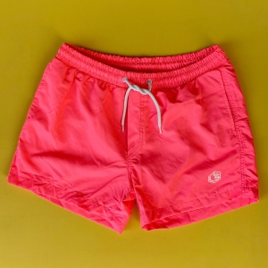 Men's Basic Short Swim Shorts With Back Pockets Pink Mv Premium Brand - 1