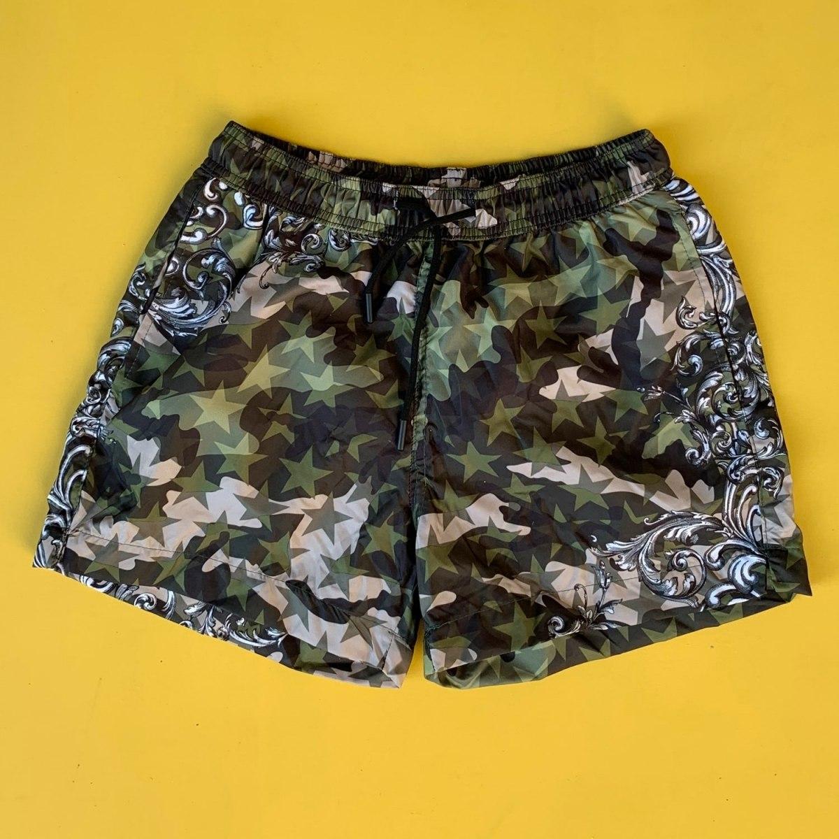 Men's Star Patterned Camouflage Short Swim Shorts