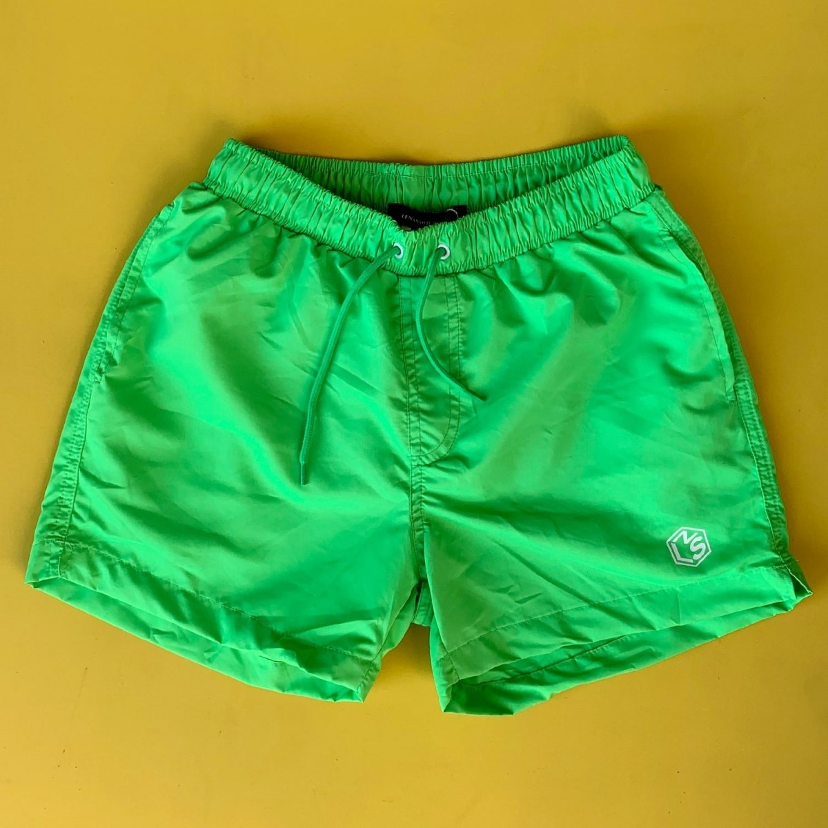 Men's Basic Short Swim Shorts With Back Pockets Green Mv Premium Brand - 2