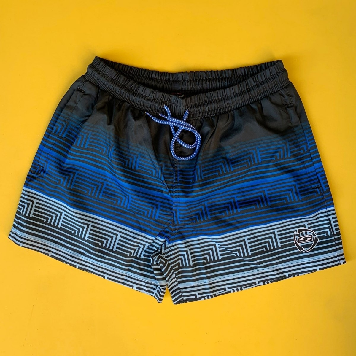 Men's Striped Triple Color Pattern Short Swim Shorts Mv Premium Brand - 2