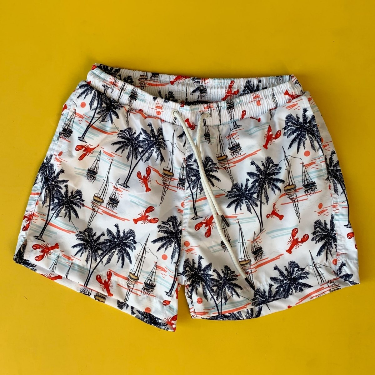 Men's Palm Tree Patterned Short Swim Shorts White