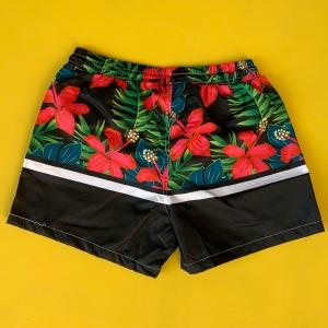 Men's Red Floral Leaf Pattern Short Swim Shorts Black Mv Premium Brand - 2