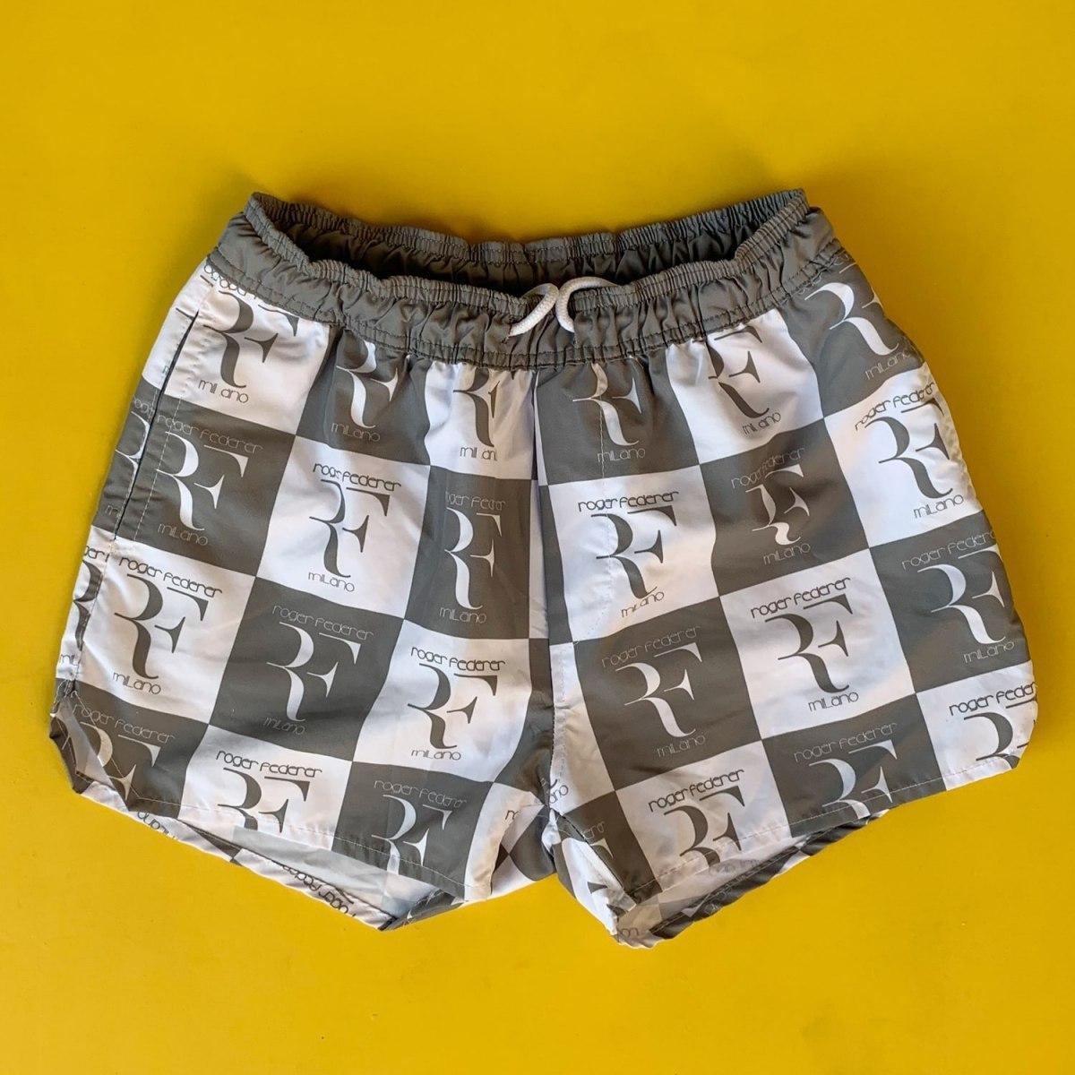 Men's Roger Federer Square Logo Short Swim Shorts Gray