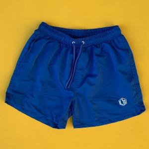 Men's Basic Short Swim Shorts With Back Pockets Blue Mv Premium Brand - 2