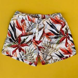 Men's Floral Pattern Areka Short Swim Shorts White Mv Premium Brand - 1