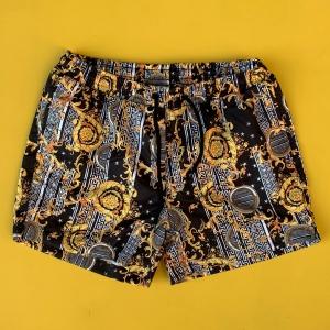 Men's Gilding Pattern Retro Short Swim Shorts Black Mv Premium Brand - 1