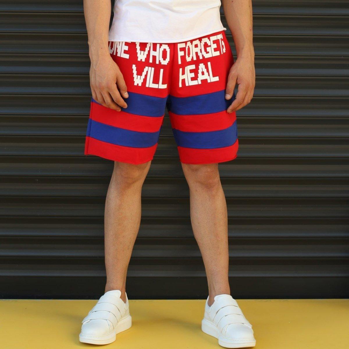 Men's Who Forgets Will Heal Fleece Sport Shorts Red Mv Premium Brand - 1