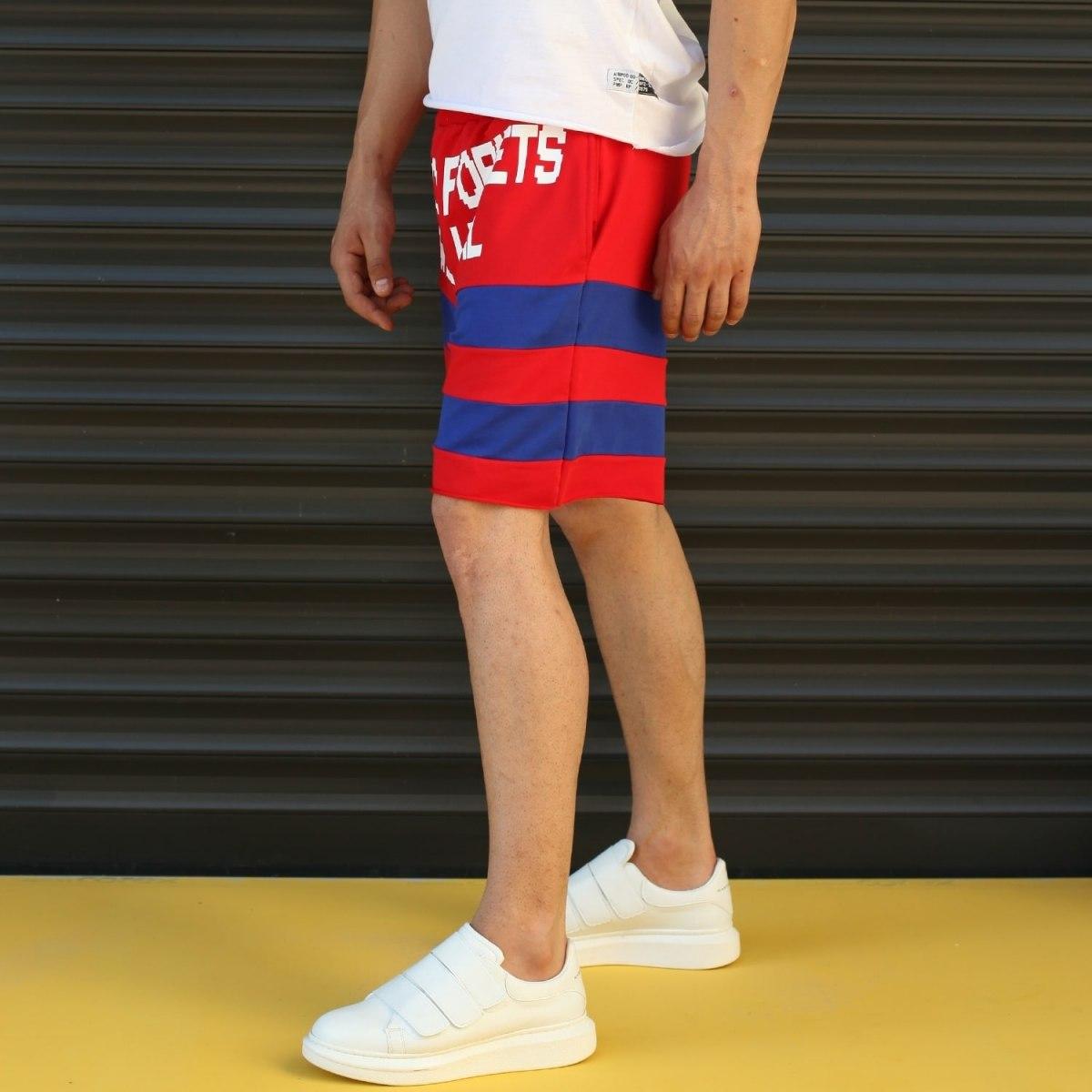 Men's Who Forgets Will Heal Fleece Sport Shorts Red Mv Premium Brand - 3