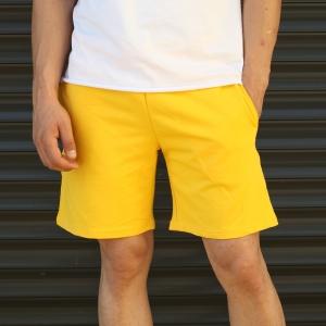 Men's Basic Fleece Sport Shorts With Pockets Yellow Mv Premium Brand - 2