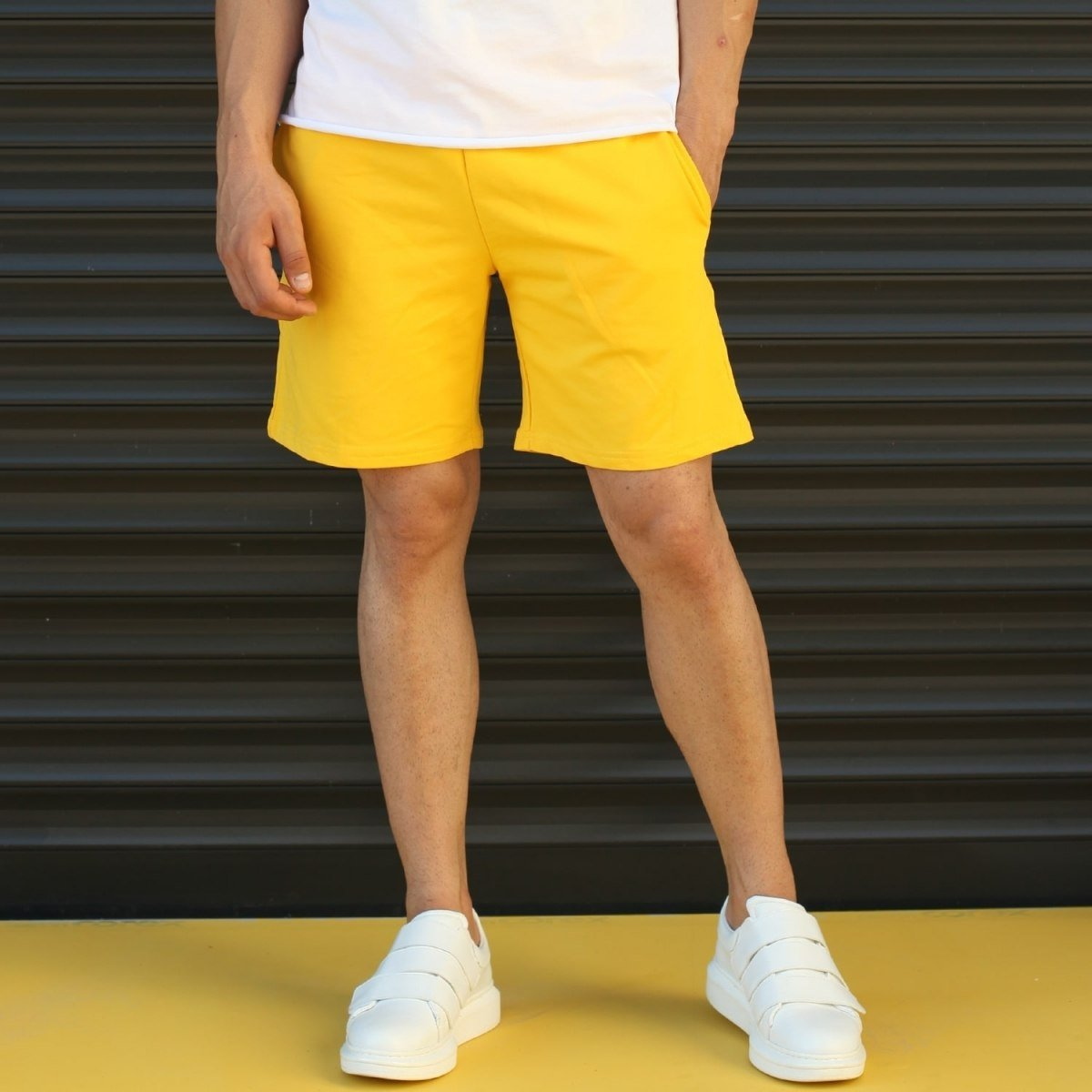 Men's Basic Fleece Sport Shorts With Pockets Yellow Mv Premium Brand - 1