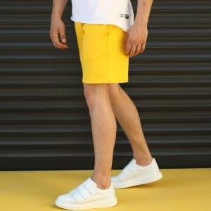 Men's Basic Fleece Sport Shorts With Pockets Yellow Mv Premium Brand - 3