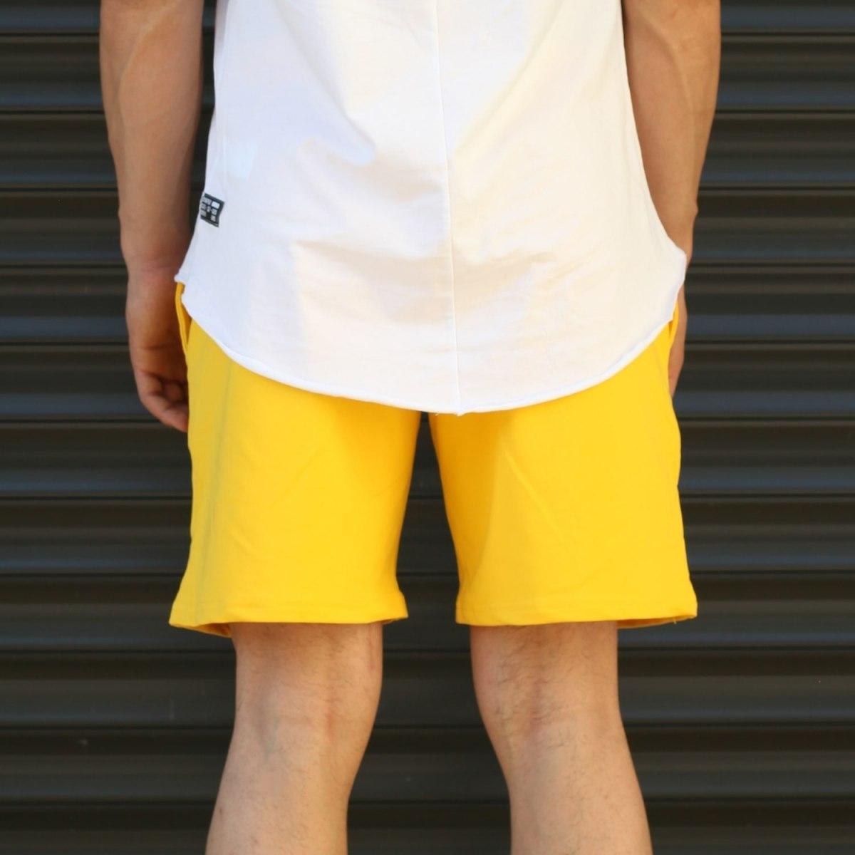 Men's Basic Fleece Sport Shorts With Pockets Yellow Mv Premium Brand - 4