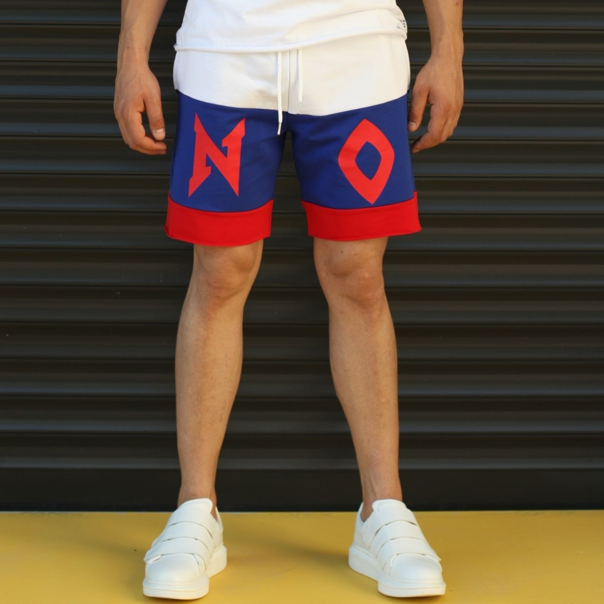 Men's NO Printed Fleece Sport Shorts Blue Mv Premium Brand - 1