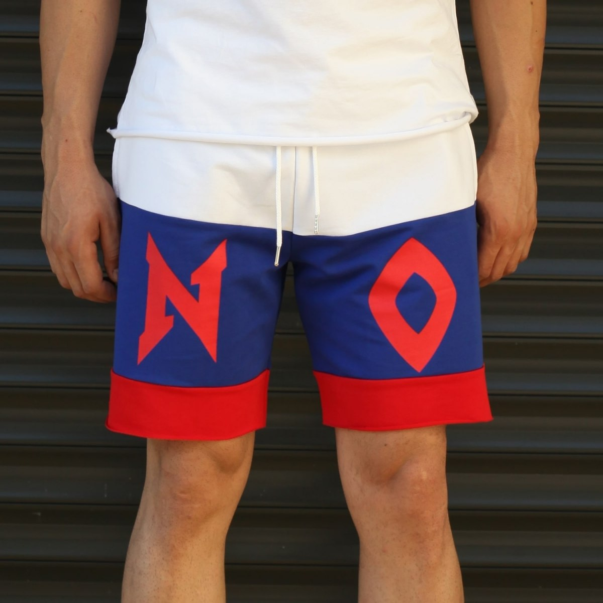 Men's NO Printed Fleece Sport Shorts Blue Mv Premium Brand - 2