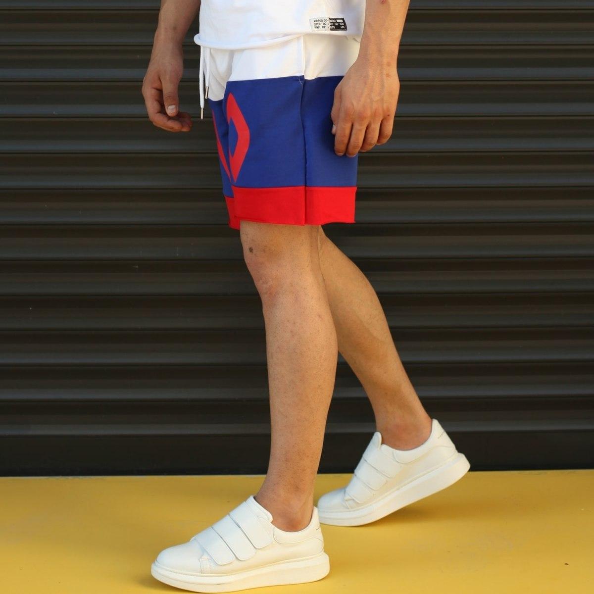 Men's NO Printed Fleece Sport Shorts Blue Mv Premium Brand - 3