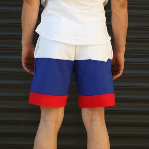 Men's NO Printed Fleece Sport Shorts Blue Mv Premium Brand - 4
