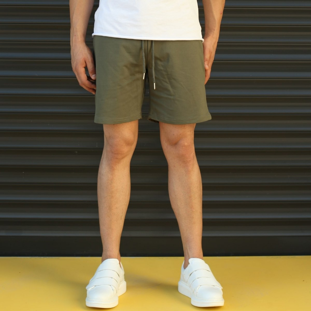 Men's Basic Fleece Sport Shorts In Khaki Mv Premium Brand - 1