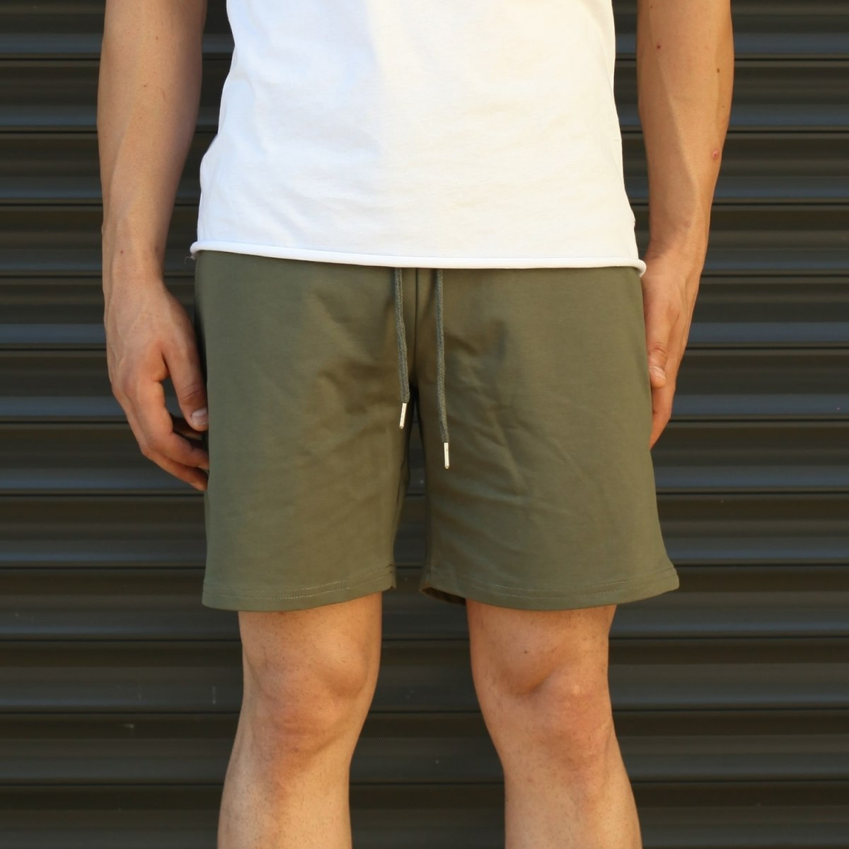 Men's Basic Fleece Sport Shorts In Khaki Mv Premium Brand - 2