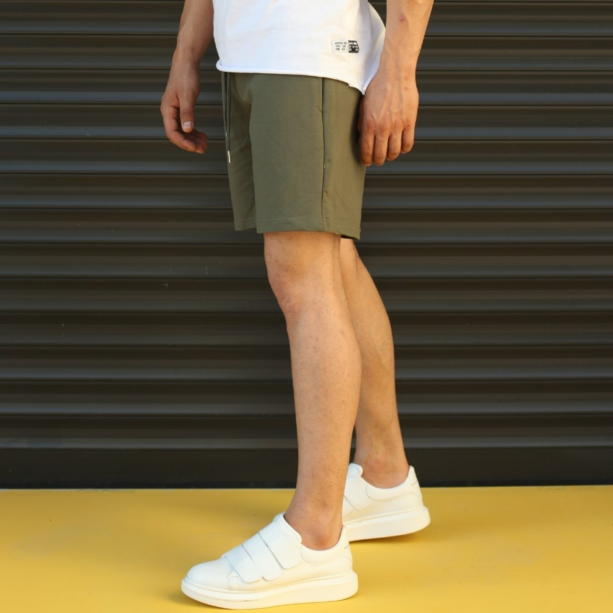 Men's Basic Fleece Sport Shorts In Khaki Mv Premium Brand - 3