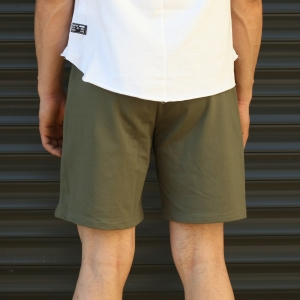 Men's Basic Fleece Sport Shorts In Khaki Mv Premium Brand - 4