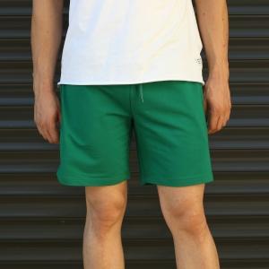 Men's Basic Fleece Sport Shorts In Green Mv Premium Brand - 2