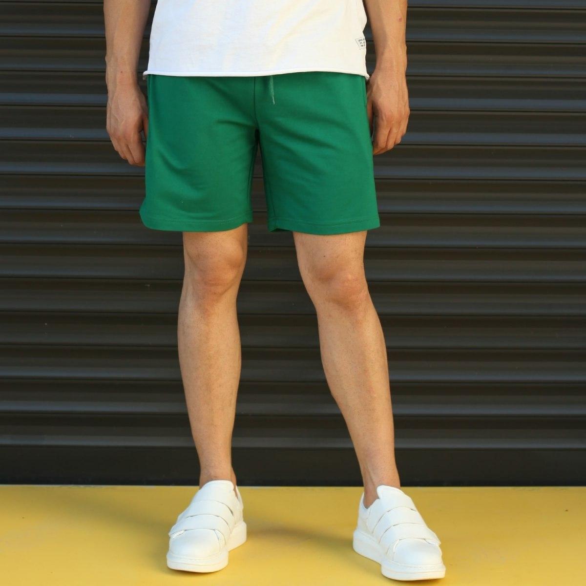 Men's Basic Fleece Sport Shorts In Green Mv Premium Brand - 1