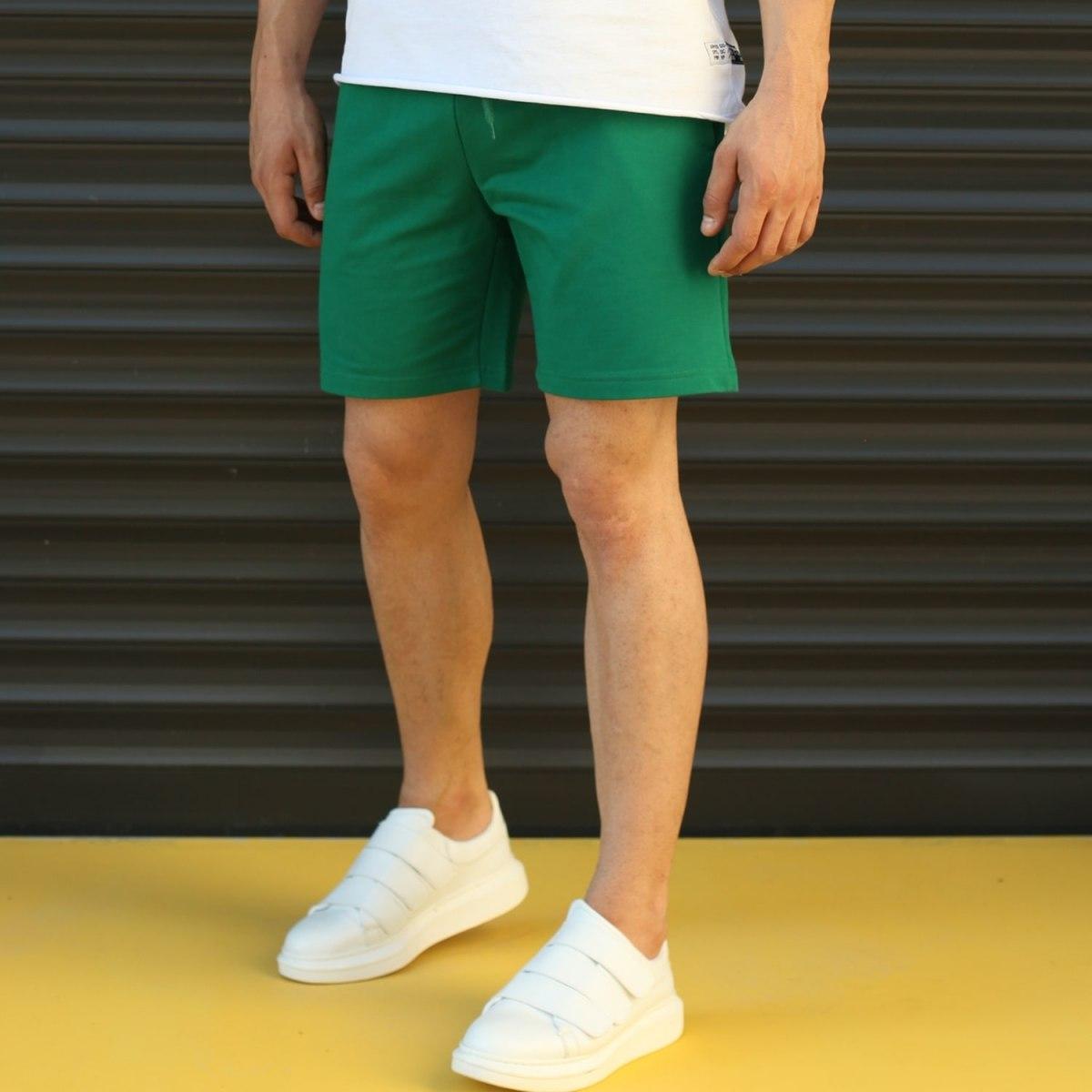 Men's Basic Fleece Sport Shorts In Green Mv Premium Brand - 3