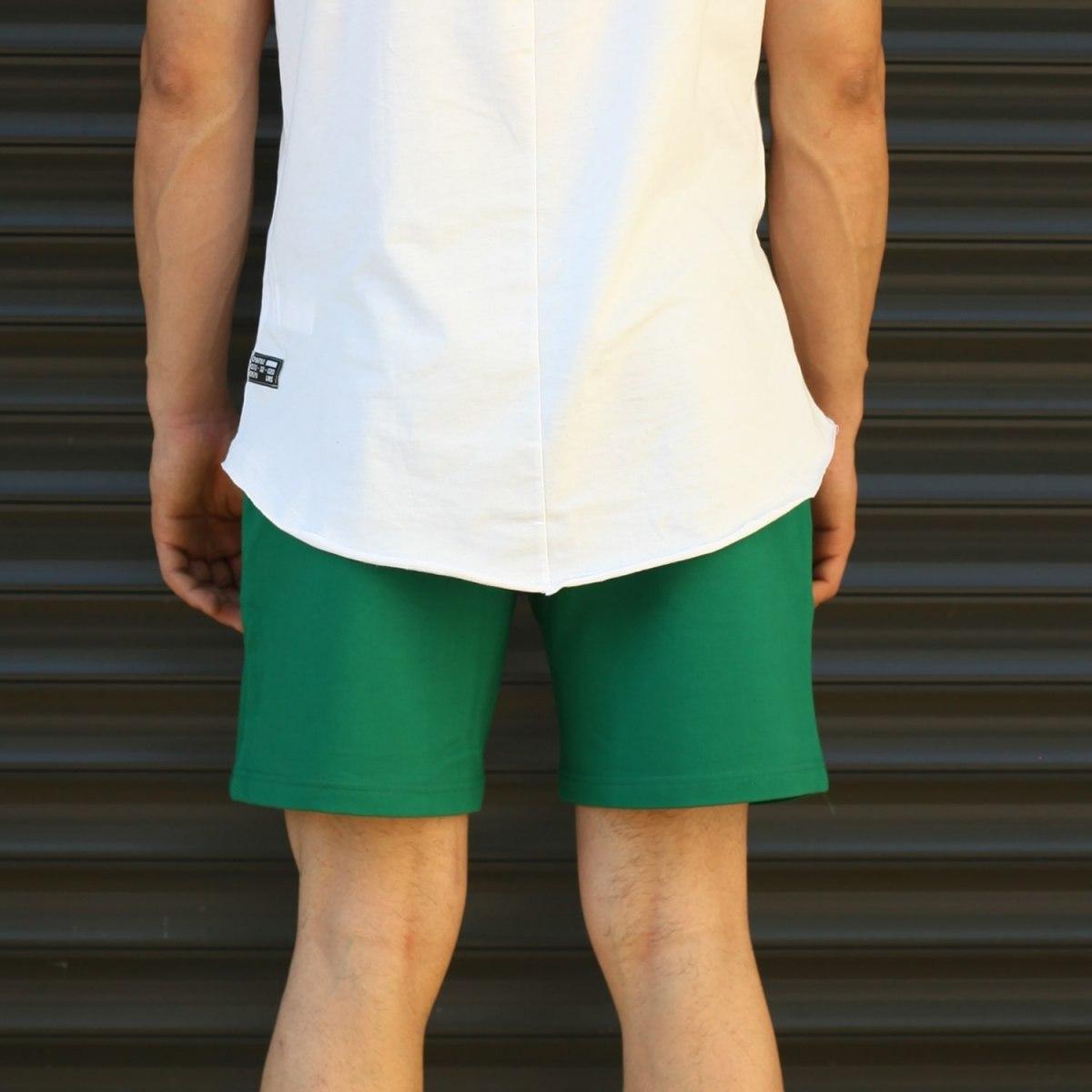 Men's Basic Fleece Sport Shorts In Green Mv Premium Brand - 4